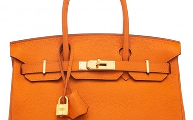 58023: Hermès 30cm Orange H Togo Leather Birkin