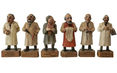 6 Austrian Handcarved & Painted Wood Figurines