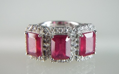 9ct White Gold ring set with three African Rubies & White Sa...