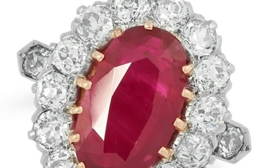 A BURMA NO HEAT RUBY AND DIAMOND RING set with an oval