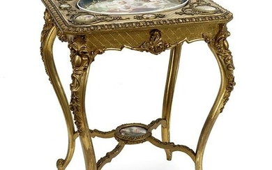 A Baroque Style Gesso and Giltwood Occasional Table