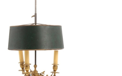 A C. 1900 Louis XVI style bronze bouillotte lamp with green metal shade. H. 64 cm.