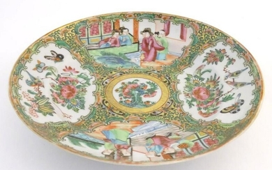 A Chinese Cantonese famille rose plate with panelled