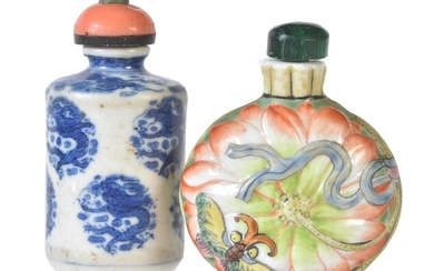 A Chinese blue and white 'Dragon' snuff bottle and stopper