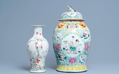 A Chinese famille rose covered vase and a vase with birds and peaches, 19/20th C.