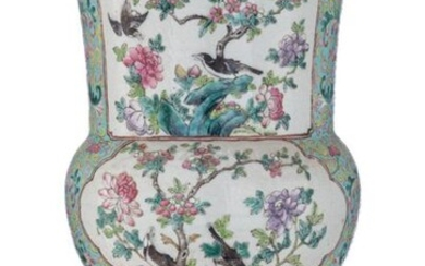A Chinese famille rose on turquoise ground floral decorated yenyen...