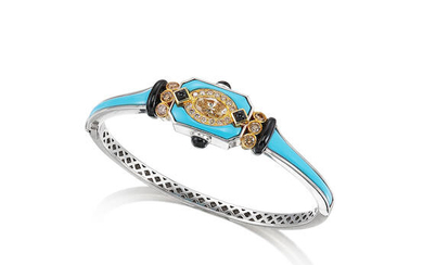 A Coloured Diamond, Turquoise and Onyx Bangle,, by Claudia Ma