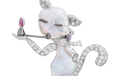 A Cultured Pearl, Diamond, Ruby, Pink Sapphire and White Gold Brooch