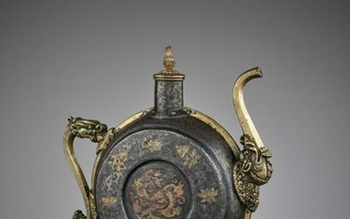 A DAMASCENED IRON BEER JUG, 18TH-19TH CENTURY