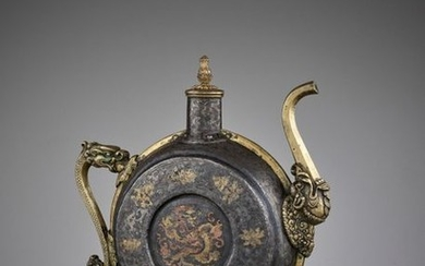 A DAMASCENED IRON BEER JUG, 18TH 19TH CENTURY...