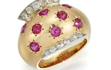 A DIAMOND AND RUBY COCKTAIL RING BY VAN CLEEF AND