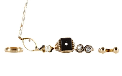 A DIAMOND PENDANT, FOUR RINGS AND A PARTIAL RING