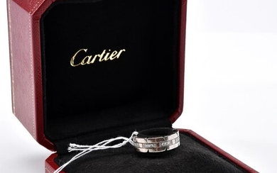 A DIAMOND TANK FRANÇAISE RING IN 18CT WHITE GOLD BY CARTIER, BOXED, SIZE J, 8.6GMS