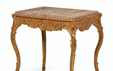 A FRENCH GILTWOOD CENTER TABLE, PROBABLY MID-18TH CENTURY, ORIGINALLY A CABINET STAND