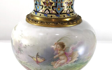 A French bronze mounted porcelain urn