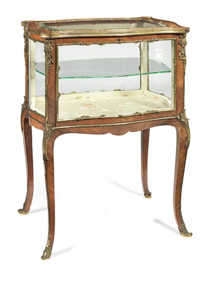 A French late 19th/early 20th century gilt bronze mounted rosewood bijouterie table