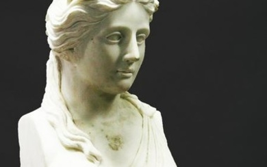 A GOOD ROMAN STYLE CARVED FEMALE BUST, 20TH CENTURY,
