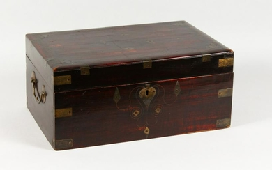 A LATE 19TH CENTURY ANGLO INDIAN BRASS BOUND TEAK