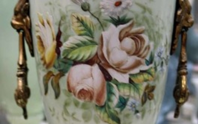 A LATE VICTORIAN BRISTOL GLASS AND ENAMELED LIDDED VASE