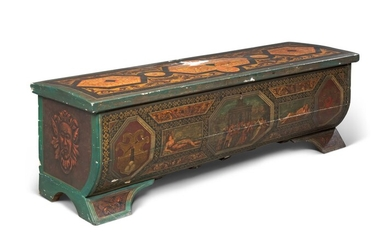 A NORTH ITALIAN POLYCHROME-PAINTED CASSONE, 19TH CENTURY, THE DECORATION OVER AN EARLIER CARCASE