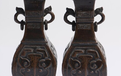A PAIR OF CHINESE ARCHAISTIC METAL ALTAR VASES 'FANG HU' QING DYNASTY (1644-1912)