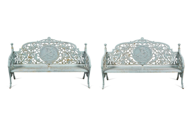 A Pair of Coalbrookdale Style Cast Iron Benches