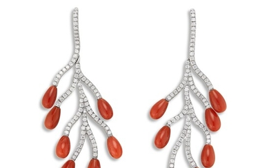Margherita Burgener, A Pair of Coral, Diamond and Titanium Ear Pendants, Margherita Burgener