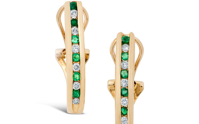 A Pair of Emerald, Diamond and Gold Ear Clips