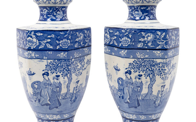 A Pair of English Blue and White Transfer-Printed Earthenware Hexagonal Vases