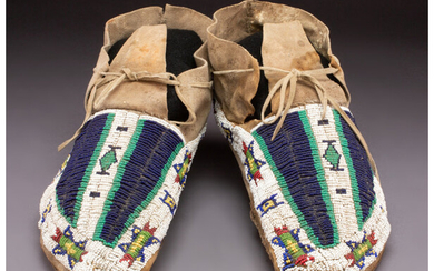 A Pair of Sioux Beaded Hide Moccasins c. 1900...