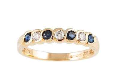 A SAPPHIRE AND DIAMOND HALF ETERNITY RING, mounted in 18ct y...