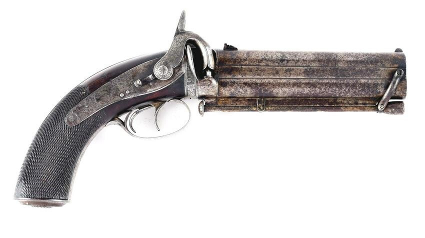(A) SHOCKINGLY RARE SWINBURN & SON OVER/UNDER PISTOL