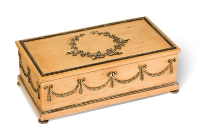 A SILVER-GILT MOUNTED HOLLY WOOD BOX, PROBABLY RUSSIA, CIRCA 1900