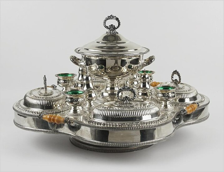 A Silver Plated Lazy Susan Fitted Warming Serving Set.