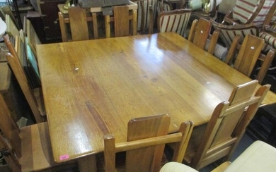 A South African hardwood square formed dining table, togethe...