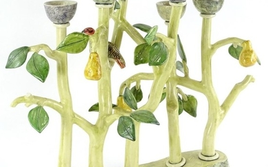 A Studio Pottery six branch candelabra, by Anna Lambert, mod...