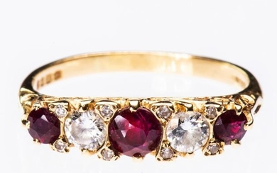 A VICTORIAN 18CT YELLOW GOLD RUBY AND DIAMOND...