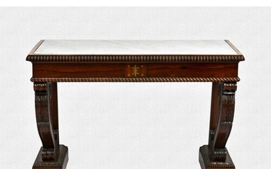 A William IV rosewood and marble console table, the inset wh...