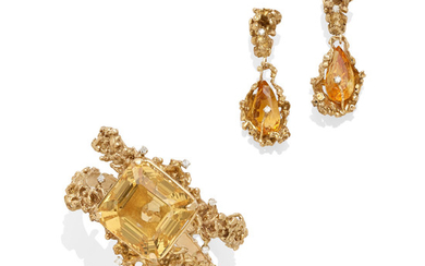 A citrine, diamond and 14k gold bangle bracelet and pair of earrings,