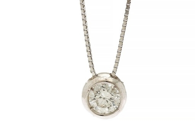 A diamond solitaire pendant set with a brilliant-cut diamond, app. 0.18 ct., mounted in 18k white gold, on an 18k white gold necklace. L. 45 cm.