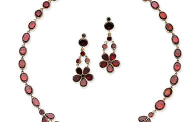 A garnet fringe necklace and a pair of garnet pendent earrings, 19th Century
