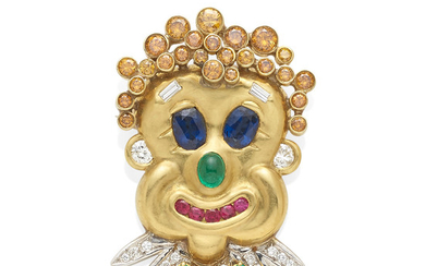 A gold, diamond and gemstone clown brooch
