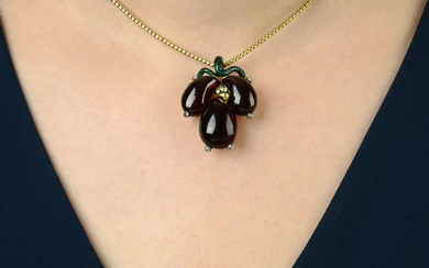 A mid Victorian gold, garnet, diamond and green enamel snake pendant, with snake-link chain.