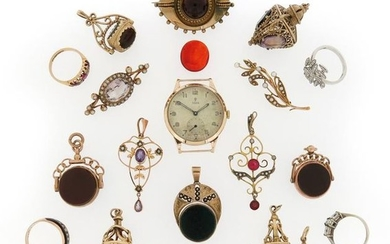 A mixed group of jewellery including eleven gold...
