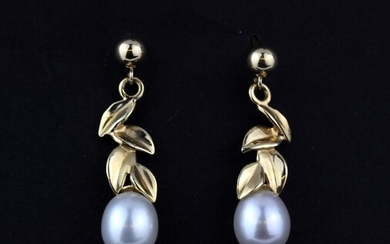 A pair of 14ct yellow gold pearl set drop earrings, L. 3cm.