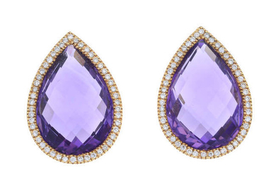 A pair of 18ct gold amethyst and brilliant-cut diamond earrings.
