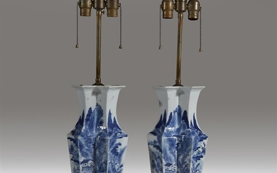 A pair of Chinese blue and white porcelain double...