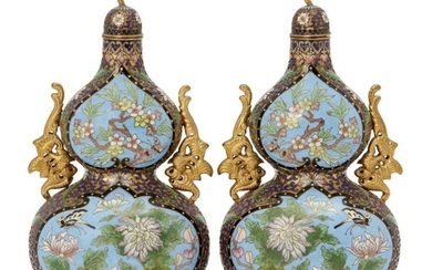 A pair of Chinese cloisonné double-gourd vases...