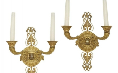 A pair of Empire style wall lights,...