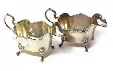 A pair of George V silver sauceboats, by Manoah Rhodes...